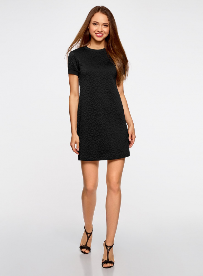 Платье свободного силуэта из фактурной ткани oodji для женщины (черный), 14000162/45984/2900N