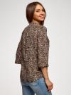 Блузка вискозная с регулировкой длины рукава oodji #SECTION_NAME# (коричневый), 11403225-9B/48458/3729A - вид 3