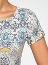 Платье трикотажное с воланами oodji #SECTION_NAME# (разноцветный), 14011017/46384/3025E - вид 5