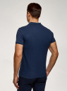 Поло хлопковое с вышивкой oodji для мужчины (синий), 5L422001I-6/44032N/7919P