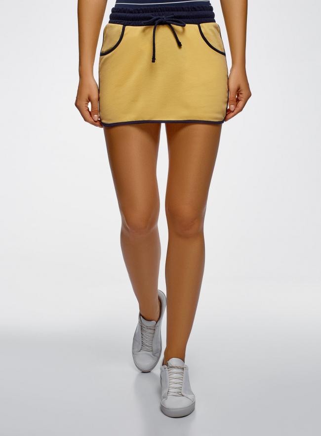 Юбка мини на завязках oodji для женщины (желтый), 16801025-2/43042/5212B