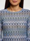 Футболка из ажурной ткани с рукавом 3/4 oodji #SECTION_NAME# (синий), 14801021-9B/45509/3766E - вид 4