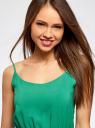 Сарафан базовый на резинке и тонких бретелях oodji для женщины (зеленый), 11900157B/14897/6E01N