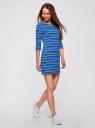 Платье трикотажное в полоску oodji для женщины (синий), 14001071-10/46148/7529S