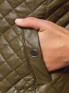 Куртка стеганая из искусственной кожи oodji #SECTION_NAME# (зеленый), 28A03001/45639/6800N - вид 5