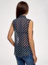 Топ из струящейся ткани с рубашечным воротником oodji #SECTION_NAME# (синий), 14903001B/42816/7912O - вид 3