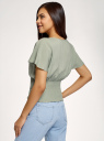 Блузка вискозная с поясом-резинкой oodji для женщины (зеленый), 11400455/26346/6000N