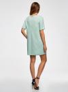 Платье из фактурной ткани прямого силуэта oodji #SECTION_NAME# (зеленый), 24001110-3/42316/6500N - вид 3