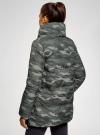 Куртка стеганая с объемным воротником oodji #SECTION_NAME# (зеленый), 10200079/32754/6837O - вид 3