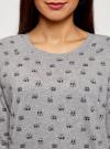 Свитшот принтованный с круглым вырезом oodji для женщины (серый), 14807021-1/46919/2329O - вид 4