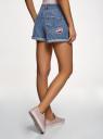 Шорты джинсовые с нашивками и потертостями oodji #SECTION_NAME# (синий), 12807093/45254/7500W - вид 3