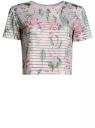 Футболка укороченная из ткани в полоску oodji для женщины (розовый), 15F01002/33520/3019F