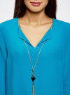 Блузка прямого силуэта с украшением oodji #SECTION_NAME# (бирюзовый), 21404021/43281/7300N - вид 4