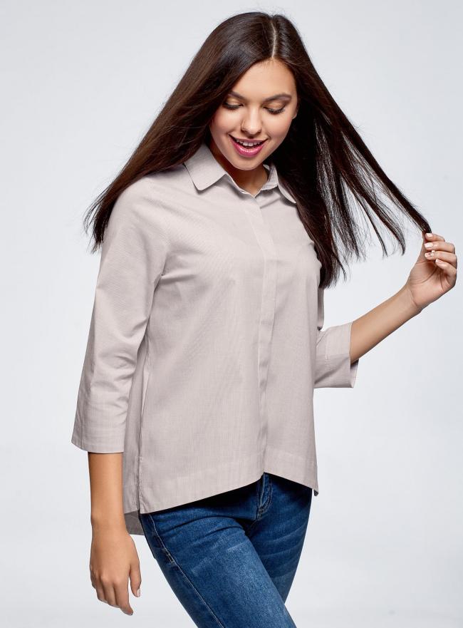 Рубашка свободного силуэта с удлиненной спинкой oodji #SECTION_NAME# (серый), 13K11002B/45387/2310S