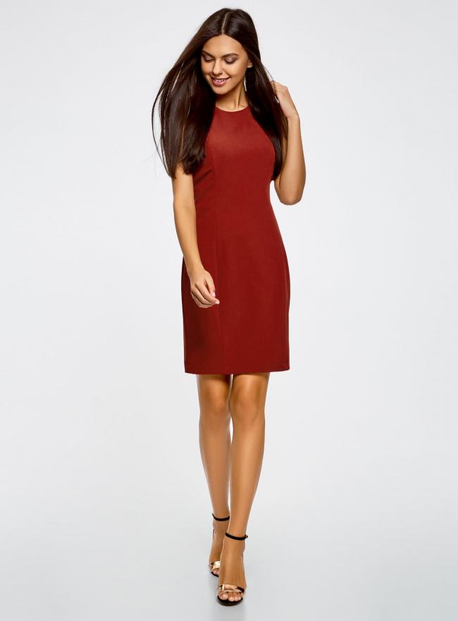 Платье базовое без рукавов oodji для женщины (красный), 21902064B/18600/3100N