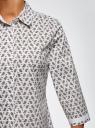 Блузка хлопковая с рукавом 3/4 oodji #SECTION_NAME# (белый), 13K03005B/26357/1075E - вид 5