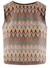 Топ из фактурной ткани с этническим узором oodji для женщины (коричневый), 15F05004/45509/3762E