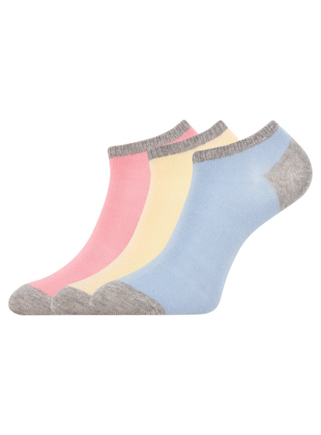 Комплект из трех пар укороченных носков oodji для женщины (разноцветный), 57102433T3/47469/19RZB
