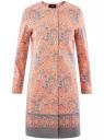 Пальто хлопковое на кнопках oodji #SECTION_NAME# (розовый), 10103038/14522/5423E