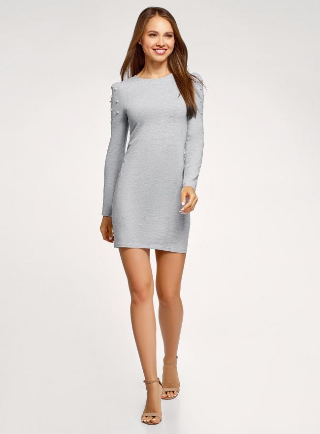 Платье с бусинами на плечах oodji для женщины (серый), 14000171-3/46148/2012Z
