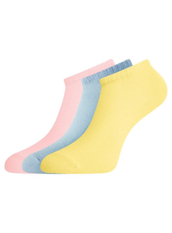 Комплект из трех пар укороченных носков oodji для женщины (разноцветный), 57102433T3/47469/19DSN
