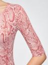 Платье трикотажное облегающее oodji #SECTION_NAME# (розовый), 14001121-3B/16300/4B12A - вид 5