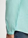 Рубашка льняная без воротника oodji #SECTION_NAME# (бирюзовый), 3B320002M/21155N/7303N - вид 5