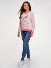 Свитшот хлопковый с пайетками oodji для женщины (розовый), 14808015-35/46151/406DP - вид 6