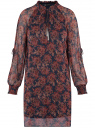 Платье шифоновое с манжетами на резинке oodji для женщины (синий), 11914001/15036/7949E