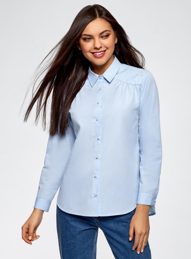 Рубашка хлопковая с декором oodji для женщины (синий), 11411185/26468/7410N