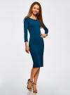 Платье облегающее с вырезом-лодочкой oodji #SECTION_NAME# (синий), 14017001-6B/47420/7901N - вид 2