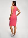 Платье хлопковое облегающего силуэта oodji #SECTION_NAME# (розовый), 14015022-1/47420/4D91P - вид 3
