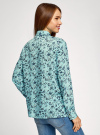 Блузка вискозная с декоративными завязками oodji #SECTION_NAME# (зеленый), 11411118/24681/6579F - вид 3