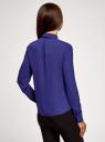 Блузка из струящейся ткани с воланами oodji #SECTION_NAME# (синий), 21411090/36215/7500N - вид 3