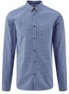 Рубашка принтованная из хлопка oodji для мужчины (синий), 3B110027M/19370N/7079G