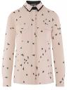 Блузка свободного силуэта из струящейся ткани oodji #SECTION_NAME# (бежевый), 11401282/49474/3329O