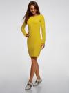 Платье трикотажное облегающего силуэта oodji для женщины (желтый), 14001183B/46148/6700N - вид 6