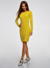 Платье трикотажное облегающего силуэта oodji #SECTION_NAME# (желтый), 14001183B/46148/6700N - вид 6