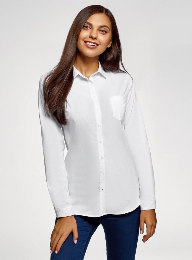 Рубашка хлопковая с нагрудным карманом oodji #SECTION_NAME# (белый), 13K03014/18193/1000B