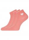 Комплект из трех пар хлопковых носков oodji для женщины (розовый), 57102705T3/48022/17 - вид 2