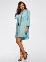 Платье вискозное с вышивкой и декоративными завязками oodji #SECTION_NAME# (бирюзовый), 21914003/33471/7300N - вид 6