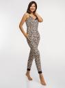Пижама хлопковая с отделкой кружевом oodji для женщины (бежевый), 56002240/46147/3329A