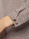 Блузка из вискозы принтованная с воротником-стойкой oodji #SECTION_NAME# (бежевый), 21411063-2/26346/3337G - вид 5