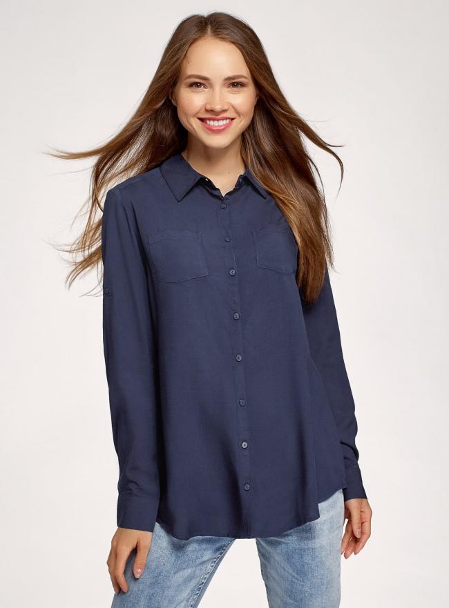 Блузка с нагрудными карманами и регулировкой длины рукава oodji для женщины (синий), 11400355-10B/42540/7900N
