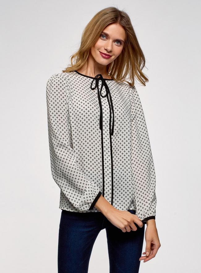 Блузка прямого силуэта с завязками oodji #SECTION_NAME# (белый), 11401267/42405/1229G