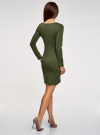 Платье базовое облегающего силуэта oodji #SECTION_NAME# (зеленый), 14011038B/38261/6800N - вид 3