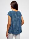 Блузка свободного силуэта с бантом oodji #SECTION_NAME# (синий), 11411154-1B/24681/7912O - вид 3