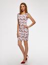 Платье трикотажное с круглым вырезом oodji #SECTION_NAME# (белый), 14008014-6B/46943/1245F - вид 6