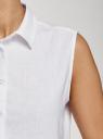 Рубашка прямая без рукавов oodji для женщины (белый), 14911017-2/49950/1000N