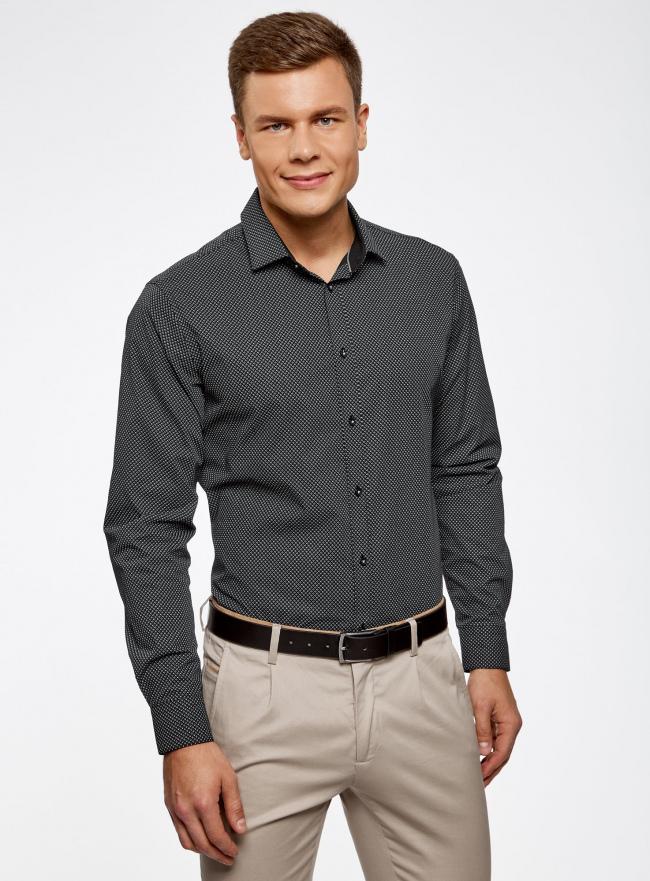Рубашка хлопковая в мелкую графику oodji #SECTION_NAME# (черный), 3L110269M/44425N/2923G